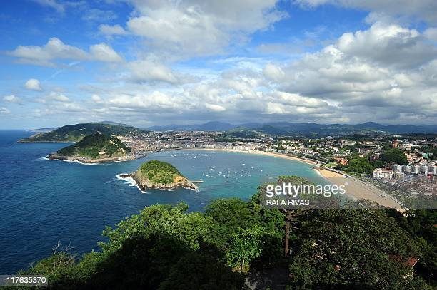 La Concha bay is pictured from Igeldo mount in the Northern Spanish city of San Sebastian on June 29 2011 The Basque city of San Sebastian known for...