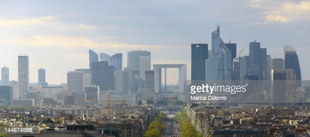 La Defense and Paris : Stock Photo