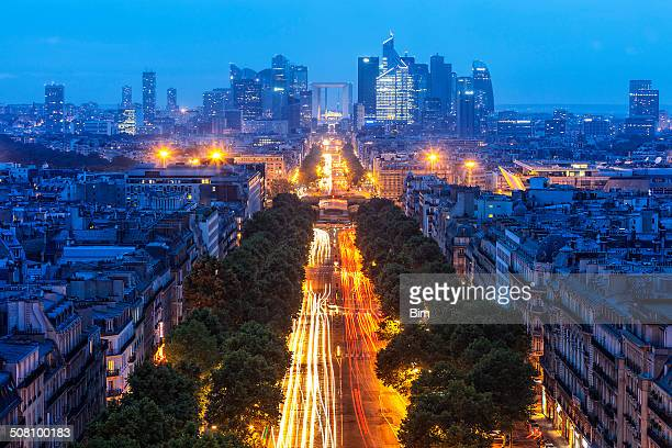 La Defense Financial District at Dusk in Paris, France