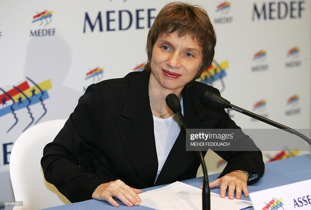 Laurence Parisot gives a speech after being elected president of the French employers' body Medef 05 July 2005 in La Defense outside Paris She is the...