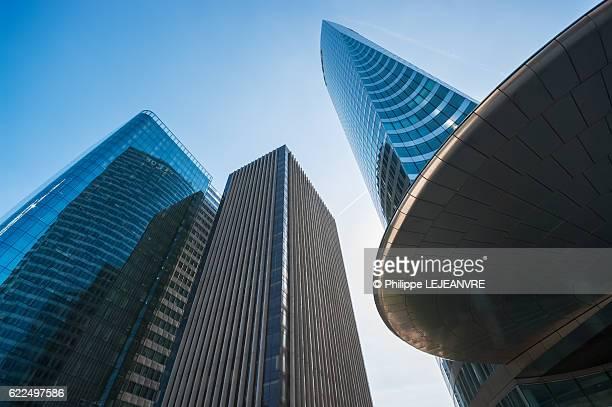 La Defense Paris financial district - various shape buildings against blue sky