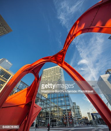 La Defense, the sculpture Red Spider (Alexander Calder, 1976) and some skyscrapers : Stock Photo