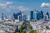 Skyline of business district of Paris, La Defense. Modern architecture