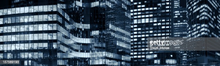 La Défense office buildings at night in Paris, France : Stock Photo