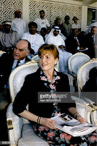La duchesse d'York Sarah Ferguson et son père Ronald Ferguson le 23 mars 1996 au Qatar