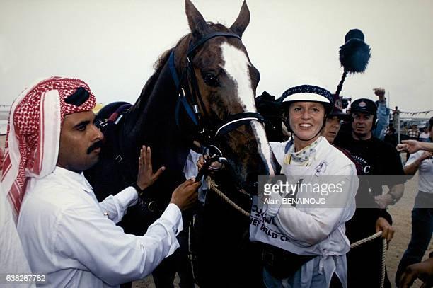 La duchesse d'York Sarah Ferguson juste après le Marathon International du Qatar le 23 mars 1996