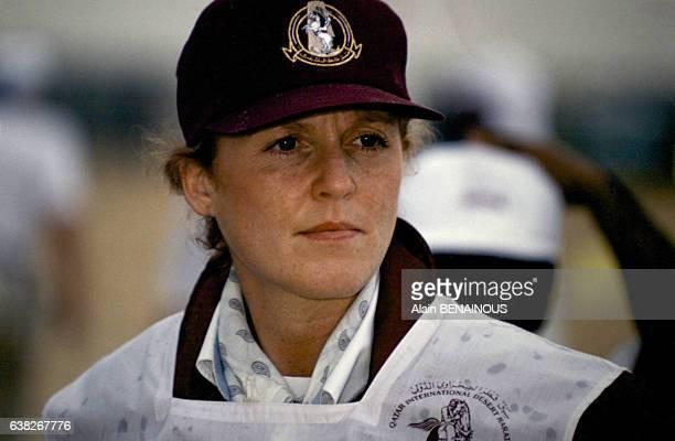 La duchesse d'York Sarah Ferguson le 23 mars 1996 au Marathon International du Qatar