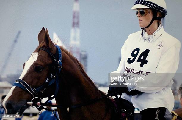 La duchesse d'York Sarah Ferguson participant au Marathon International du Qatar le 23 mars 1996