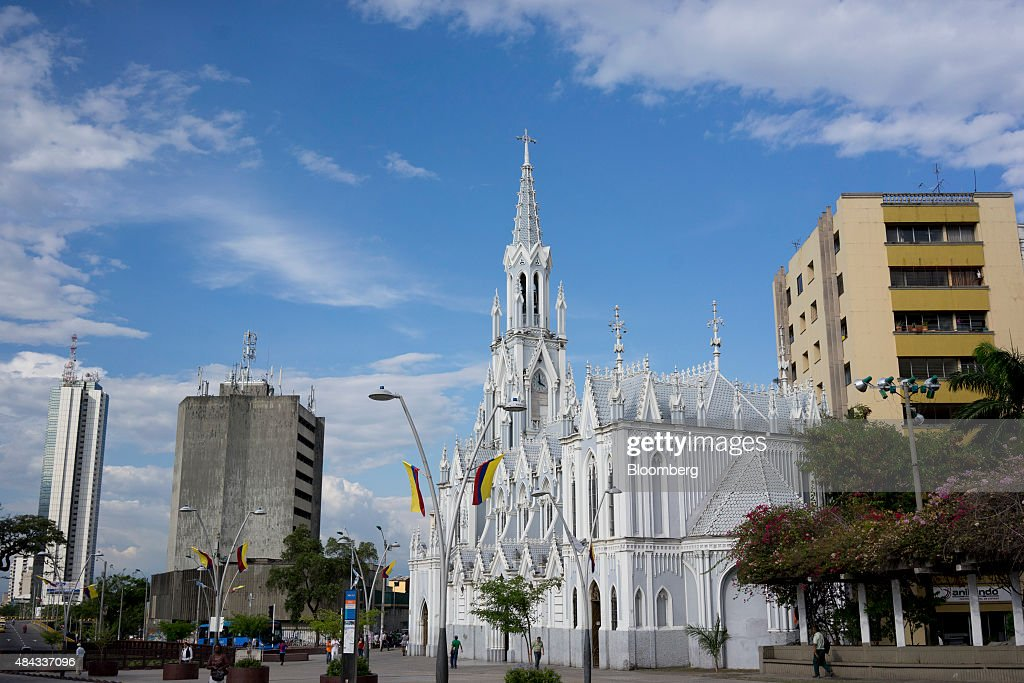La Ermita Church stands in Cali Colombia on Wednesday Aug 12 2015 Colombia's central bank last month cut its forecast for 2015 economic growth to 28...
