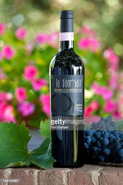 La Fornace Brunello di Montalcino 2004 Riserva bottle of red wine at wine estate of La Fornace in Val D'Orcia Tuscany Italy