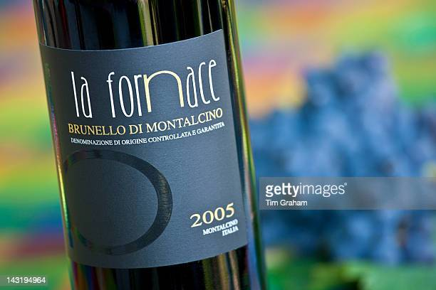 La Fornace Brunello di Montalcino 2005 bottle of red wine at wine estate of La Fornace in Val D'Orcia Tuscany Italy