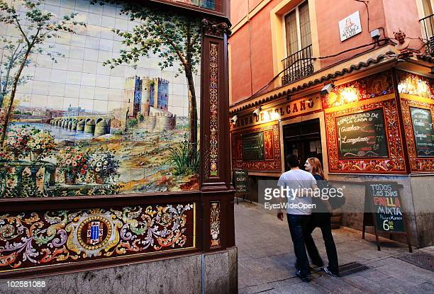 La Fragua de Vulcano a typical Spanish restaurant bar and taverna in the center of Madrid on May 21 2010 in Madrid Spain The owner is a fan of soccer...