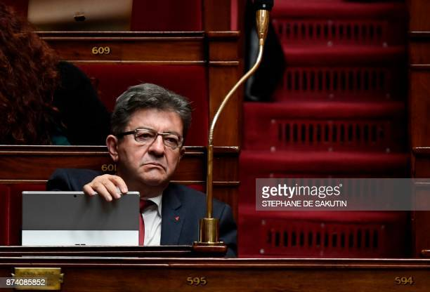 La France Insoumise Leader JeanLuc Melenchon reacts during a session of questions to the government at the National Assembly in Paris on November 14...