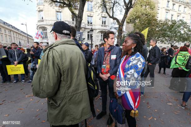 La France Insoumise leftist party member of Parliament Danièle Obono during a rally rally to protest against 'permanent state of emergency' in Paris...