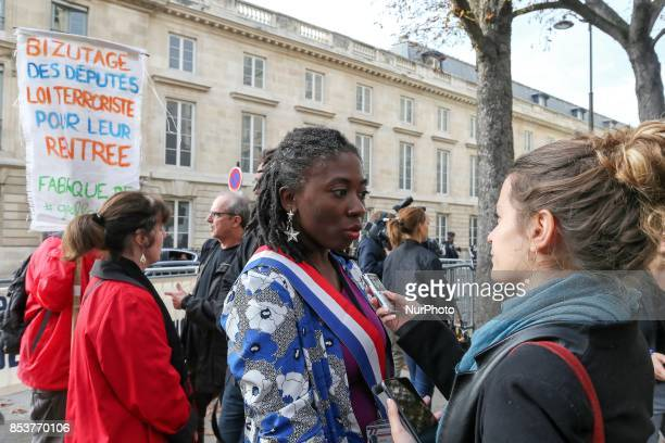 La France Insoumise leftist party member of Parliament Danièle Obono speaks with press during a rally rally to protest against 'permanent state of...