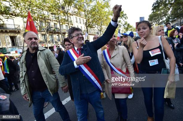 La France Insoumise leftist party parliamentary group President JeanLuc Melenchon gestures during a protest over the government's labour reforms...