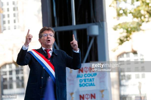 La France Insoumise leftist party parliamentary group President JeanLuc Melenchon speaks during a protest over the government's labour reforms place...