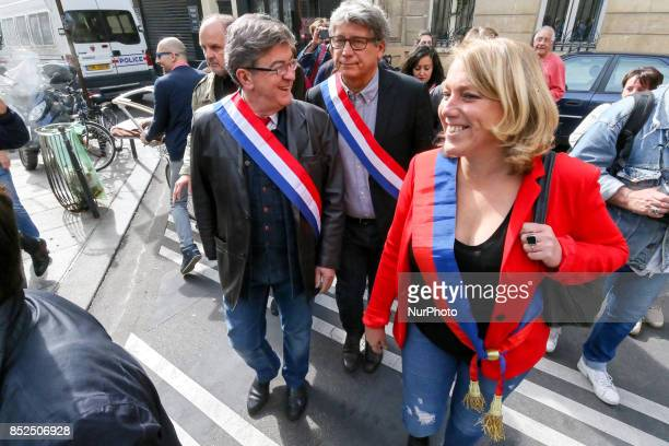 La France Insoumise leftist party parliamentary group President JeanLuc Melenchon joins a protest organized in Paris on September 23 2017 by La...