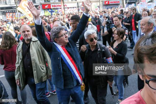 La France Insoumise leftist party parliamentary group President JeanLuc Melenchon gestures during a protest organized in Paris on September 23 2017...