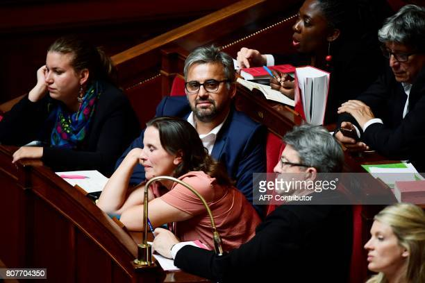 La France Insoumise leftist party's lawmakers Mathilde Panot Alexis Corbiere Caroline Fiat and party leader JeanLuc Melenchon attend the address of...
