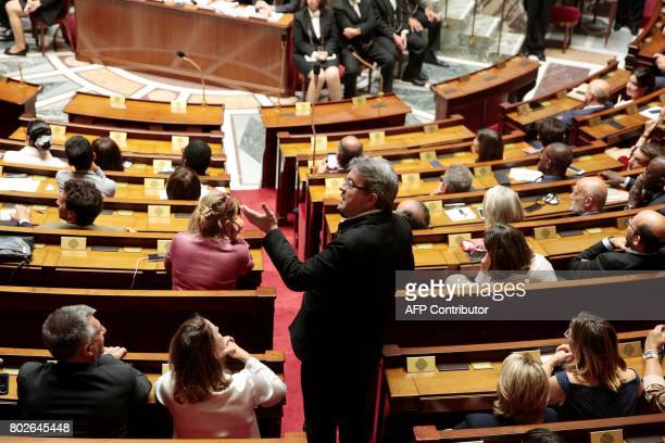 La France Insoumise leftist party's leader and Member of Parliament JeanLuc Melenchon speaks during a session at the National Assembly in Paris on...