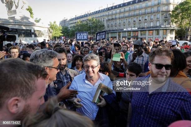La France Insoumise leftist party's leader and Member of Parliament JeanLuc Melenchon attends a gathering on Place de la Republique on July 3 2017 in...