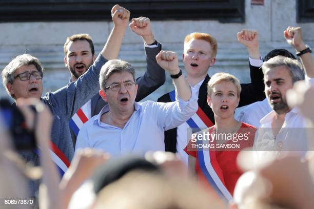 La France Insoumise leftist party's leader and Member of Parliament JeanLuc Melenchon and LFI lawmakers Eric Coquerel Ugo Bernalicis Adrien...