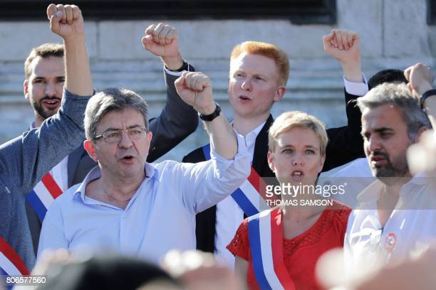 La France Insoumise leftist party's leader and Member of Parliament JeanLuc Melenchon and LFI lawmakers Ugo Bernalicis Adrien Quatennens Clementine...
