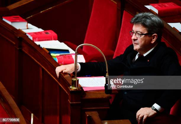 La France Insoumise leftist party's leader and Member of Parliament JeanLuc Melenchon attends an extraordinary session of the French National...