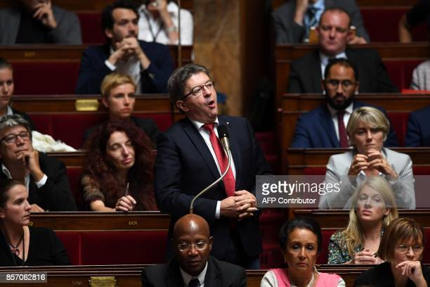 La France Insoumise leftist party's leader and parliamentary group president JeanLuc Melenchon speaks during a session of questions to the government...