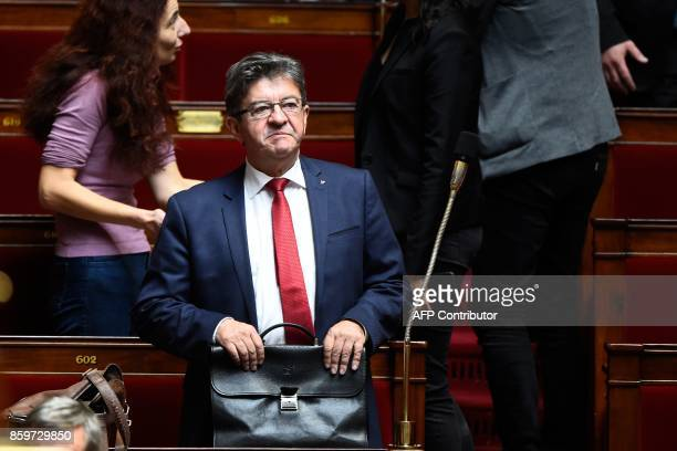 La France Insoumise leftist party's leader and parliamentary group president JeanLuc Melenchon arrives to attend a session of questions to the...