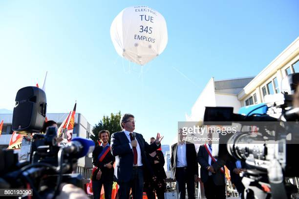 La France Insoumise leftist party's leader and parliamentary group president JeanLuc Melenchon addresses employees of General Electric HydroAlstom as...