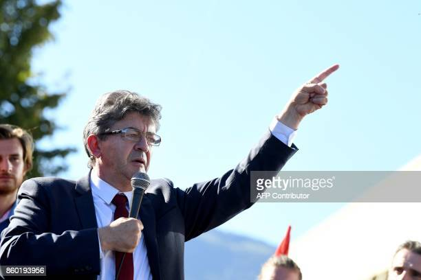 La France Insoumise leftist party's leader and parliamentary group president JeanLuc Melenchon gestures as he addresses employees of General Electric...