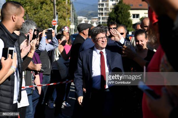 La France Insoumise leftist party's leader and parliamentary group president JeanLuc Melenchon arrives to speak with employees of General Electric...