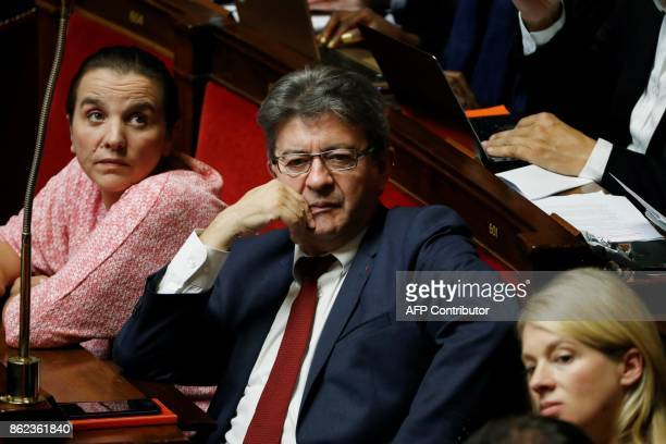 La France Insoumise leftist party's leader and parliamentary group president JeanLuc Melenchon reacts during a session of questions to the government...