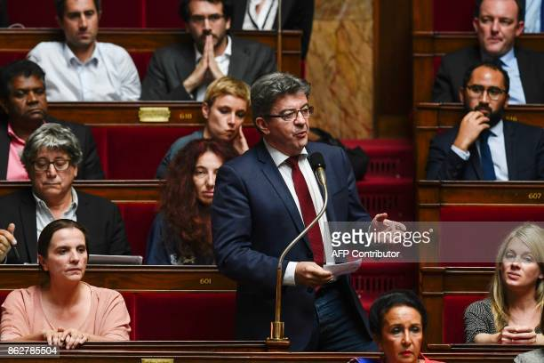 La France Insoumise leftist party's leader and parliamentary group president JeanLuc Melenchon speaks during a session of Questions to the...