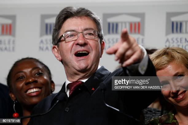 La France Insoumise leftist party's leader Member of Parliament JeanLuc Melenchon and LFI deputy Clementine Autain give a press conference on June 27...