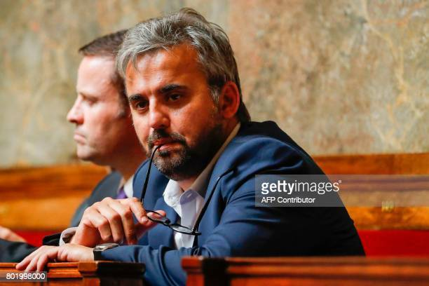 La France Insoumise leftist party's Member of Parliament at the national assembly Alexis Corbiere attends the inaugural session of the 15th...