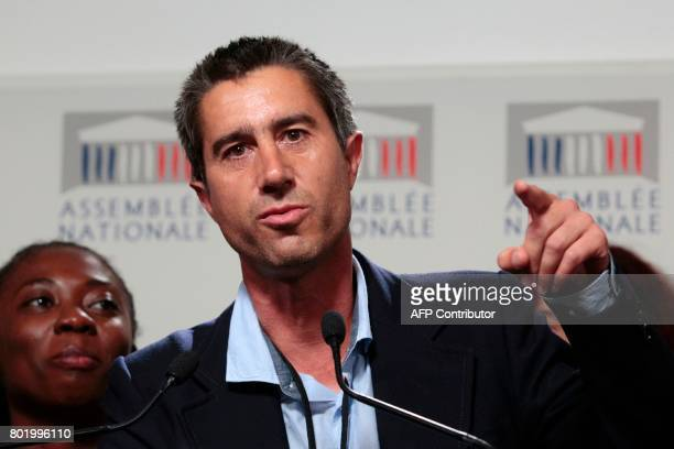 La France Insoumise leftist party's Member of Parliament Francois Ruffin gives a press conference surrounded by members of LFI's group at the...