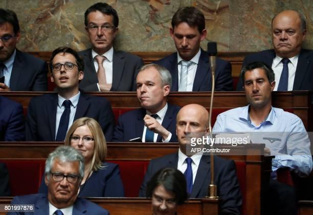 La France Insoumise leftist party's Member of Parliament Francois Ruffin French La Republique en Marche Francois de Rugy attend the inaugural session...