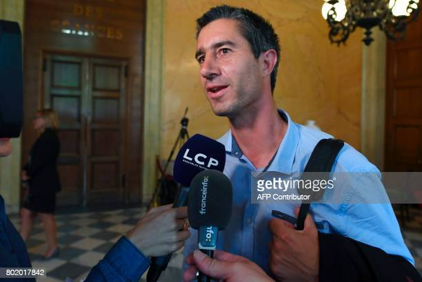 La France Insoumise leftist party's Member of Parliament Francois Ruffin speaks to the press during the inaugural session of the 15th legislature of...