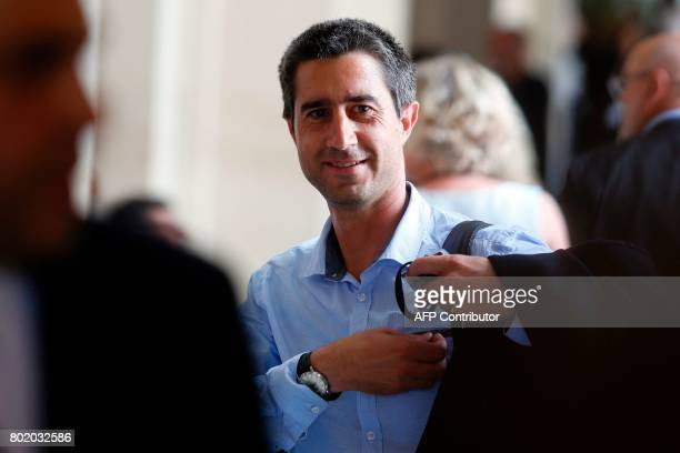 La France Insoumise leftist party's Member of Parliament Francois Ruffin speaks to the press after the inaugural session of the 15th legislature of...