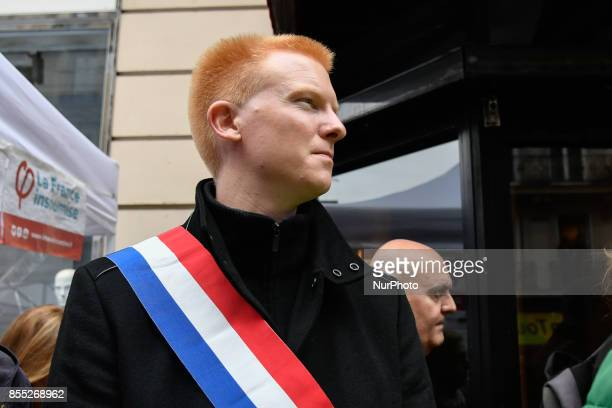 La France Insoumise leftist party's members of Parliament Adrien Quatennens attends a demonstrate in Paris on September 28 2017 by pensioners against...