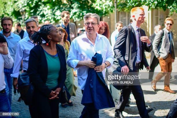 La France Insoumise leftist party's members of parliament Daniele Obono Alexis Corbiere party leader JeanLuc Melenchon and Adrien Quatennens arrive...