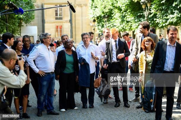 La France Insoumise leftist party's members of parliament Eric Coquerel Daniele Obono Alexis Corbiere party leader JeanLuc Melenchon Adrien...