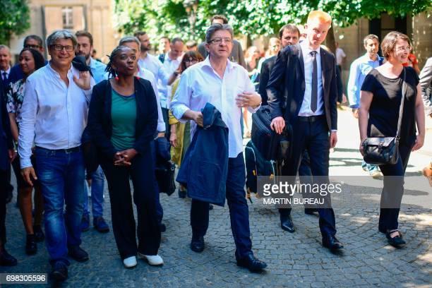 La France Insoumise leftist party's members of parliament Eric Coquerel Daniele Obono party leader JeanLuc Melenchon Adrien Quatennens and Muriel...