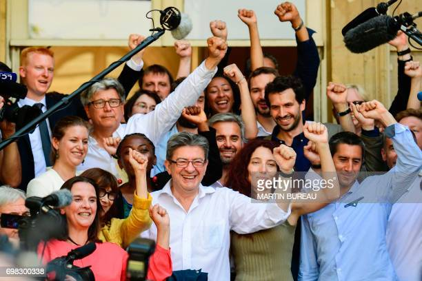 La France Insoumise leftist party's members of parliament party leader JeanLuc Melenchon Eric Coquerel Daniele Obono Alexis Corbiere Adrien...