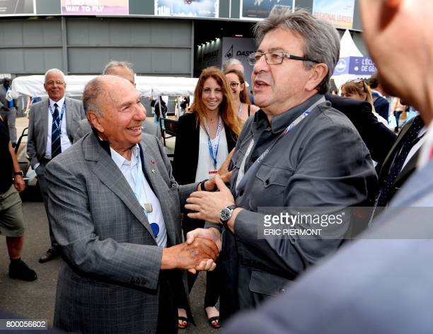 La France Insoumise leftist party's members of parliament party leader JeanLuc Melenchon shakes hands with Chairman of Dassault Group Serge Dassault...