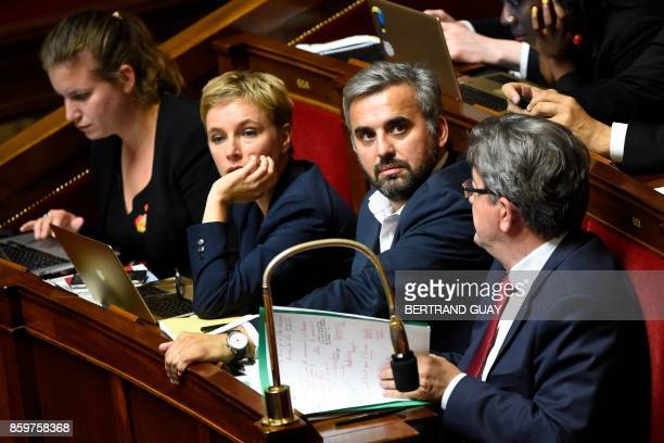 La France Insoumise leftist party's MP Mathilde Panot Clementine Autain Alexis Corbiere and party leader JeanLuc Melenchon reacts attend a session of...