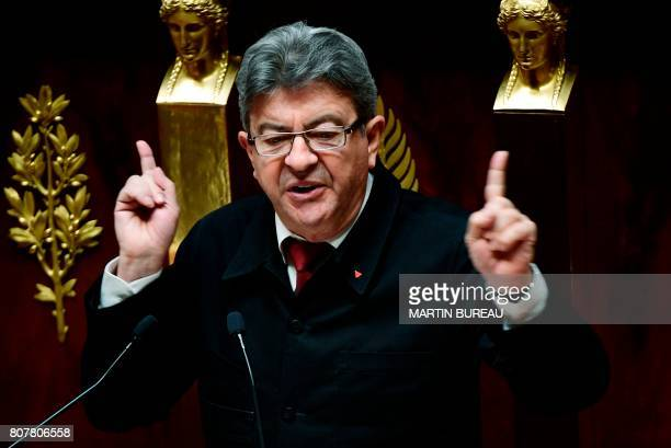 La France Insoumise leftist party's parliamentary group president JeanLuc Melenchon delivers a speech following the French Prime Minister's address...